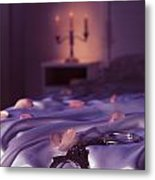 Handcuffs And Rose Petals On Bed Metal Print