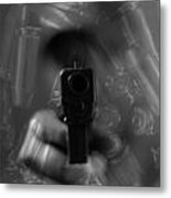 Handgun And Ammunition Metal Print