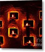 Handmade Oil Candles For Diwali Metal Print