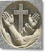 Hands And The Cross Metal Print