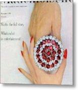 Hands Holding A Coro Rhinestone Pin Metal Print