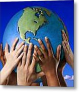 Hands On A Globe Metal Print by Don Hammond