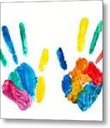 Hands Painted Stamped On Paper Metal Print