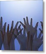 Hands Raised In Worship Metal Print by Colette Scharf