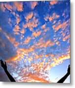 Hands Up To The Sky Showing Happiness Metal Print by Michal Bednarek