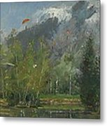 Hang Gliders At Chamonix, 2007 Oil On Canvas Metal Print