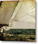 Hanged On Wind In A Mediterranean Vintage Tall Ship Race  Metal Print