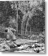 Hanging Bridge In Black And White Metal Print