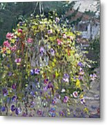 Hanging Flowers From Balcony Metal Print