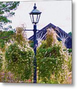Hanging Flowers With An Old Fashioned Lantern Metal Print