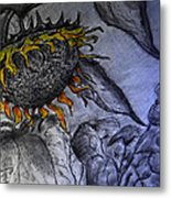 Hanging On To Life - Sunflower Metal Print