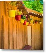 Hanging Pots - Watercolor Metal Print
