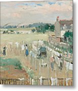 Hanging The Laundry Out To Dry Metal Print by Berthe Morisot