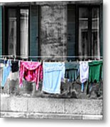 Hanging The Wash In Venice Italy Metal Print
