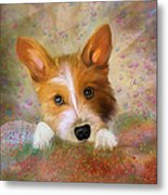 Hankie A Corgi And Westi Mix Cute Dog Metal Print