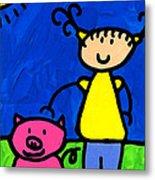 Happi Arte 1 - Girl With Pink Pig Art Metal Print