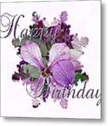 Happy Birthday Greeting Card - Purple Luneria Metal Print