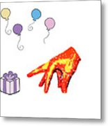Happy Birthday Mr. Hand Metal Print
