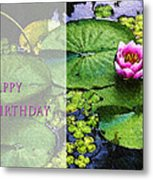 Happy Birthday Water Lily Metal Print