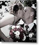 Happy Bride And Groom Kissing Metal Print