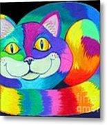 Happy Cat Dark Back Ground Metal Print