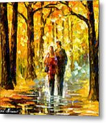 Happy Couple - Palette Knife Oil Painting On Canvas By Leonid Afremov Metal Print