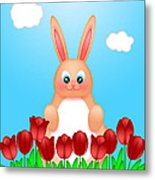 Happy Easter Bunny Rabbit On Field Of Tulips Flowers Metal Print