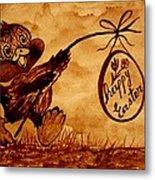 Happy Easter Coffee Art Metal Print