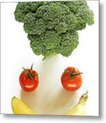 Happy Fruit And Vegetable Face Metal Print