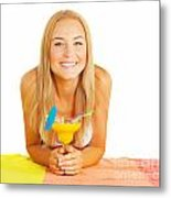 Happy Girl With Cocktail Metal Print
