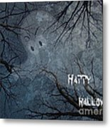 Happy Halloween - Ghost In Trees Metal Print