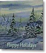 Happy Holidays - Snowy Winter Evening Metal Print