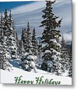 Happy Holidays - Winter Trees And Rising Clouds Metal Print
