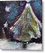 Happy Holidays Blue And Red Wishing Stars Metal Print