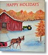 Happy Holidays Card Metal Print