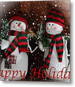 Happy Holidays - Christmas - Snowman Collection - Greeting Cards Metal Print