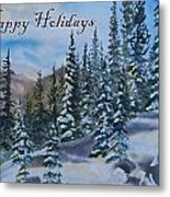 Happy Holidays Forest And Mountains Metal Print
