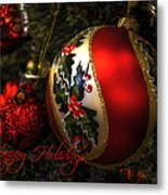 Happy Holidays Greeting Card Metal Print