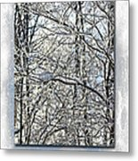 Happy Holidays Greeting - Icicles On Trees Metal Print