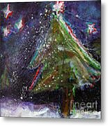 Happy Holidays Red And Blue Wishing Stars Metal Print by Johane Amirault