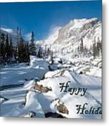Happy Holidays Snowy Mountain Scene Metal Print