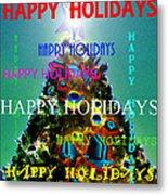 Happy Holidays Word Splash A Metal Print