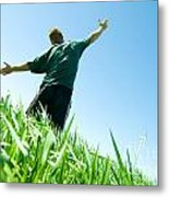 Happy Man On The Summer Field Metal Print