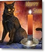 Happy Samhain Kitten And Candle Metal Print