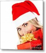Happy Santa With Presents  Metal Print
