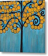 Happy Tree In Blue And Gold Metal Print