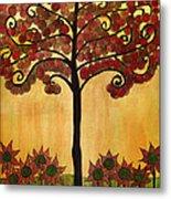 Happy Tree In Red Metal Print