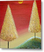 Happy Trees With Red Sky Metal Print