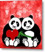Happy Valentines Day Panda Couple Hearts Bokeh Metal Print