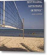 Happy Volleyball Goal Metal Print